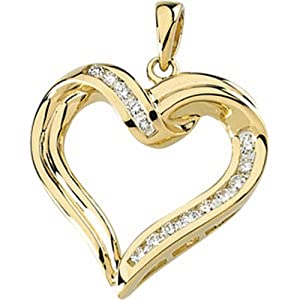 IceCarats Designer Jewelry 14K Yellow Gold Diamond Heart Pendant