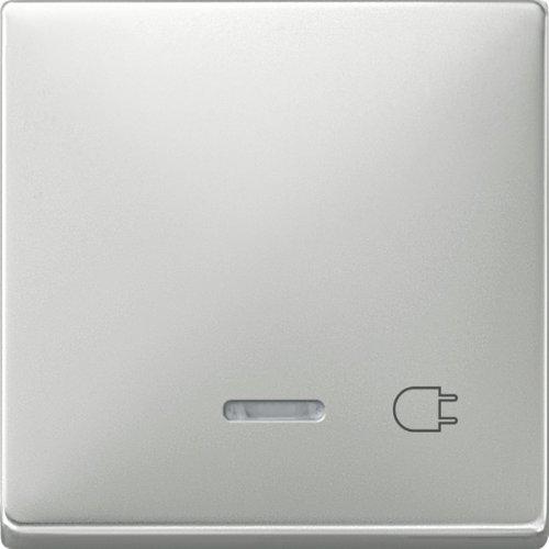 437246 Wippe mit Kontrollfenster und Aufdruck Steckdose  Edelstahl  System Fläche