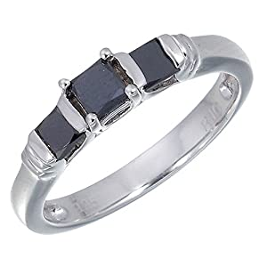 Vir Jewels Sterling Silver 3 Stone Black Diamond Engagement Ring (3/4 CT) Size 7