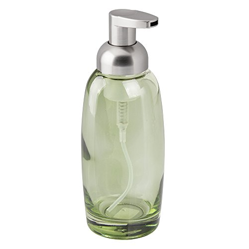 Interdesign ariana foaming glass soap dispenser pump for for Green glass bath accessories