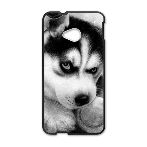 Black and White Photograph Animal Series Fashion Husky Dog Design Hot Custom Luxury Cover Case For HTC One M7(Black) with Best Plastic ALL MY DREAMS (Htc Mobile Price compare prices)