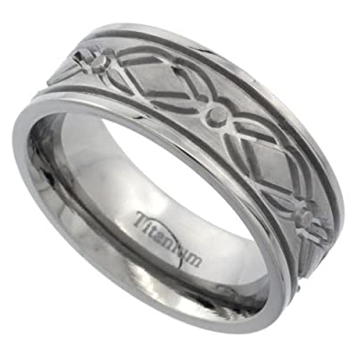 Titanium 8mm Flat Wedding Band Ring Diamond Pattern Matte Finish Comfort-fit, sizes N to Z+3