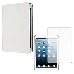 DMG Smart PU Leather Ultra Thin Trifold Book Cover Case For Apple iPad Mini / Mini 2 / Mini 3 (White) + Matte Screen
