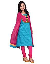 Chhipa 100% cotton Turquoise salwar suit dupptta material