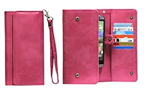 J Cover A13 Nillofer Leather Wallet Universal Phone Pouch Cover Case For Maxx GenxDroid7 AX405 Pink