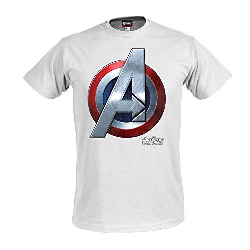 Avengers - T-shirt con motivo Age of Ultron con scudo del super eroe Marvel Captain America - Licenza ufficiale - Bianco - M