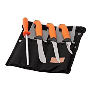 EKA Knives BUTCHER SET EKA-730403 Orange Handle - Gut Hook - Boning & Skinning Knife