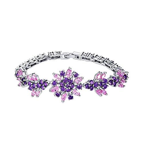 Bracciale da Donna con zirconia cubica spatzl braccialetto gioielli regalo di compleanno Natale, lega metallica, colore: Color 7, cod. C_2WE 0132