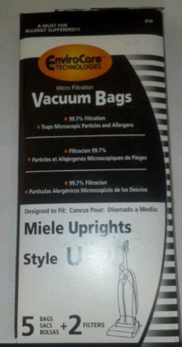 5 Miele Upright Style U Vacuum Bags + 2 Filters with Hygienic Self-closing Seal and Filters, Allervac, Upright Vacuum Cleaners, 07805130, 7282050 4002514835983, 780513000017, S7280 , S7280, S7260 (Miele S7580 Swing compare prices)