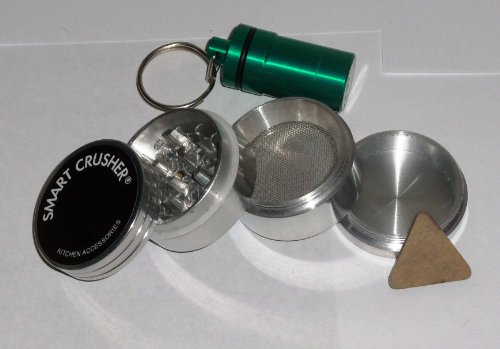 New 4PCS SMART CRUSHER 44mm MAGNETIC ALUMINUM HERB POLLEN GRINDER + Key Ring Stash Case in assorted colors