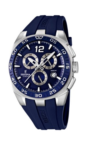 Festina F16668/2 - Reloj cronógrafo de cuarzo para hombre con correa de caucho, color azul