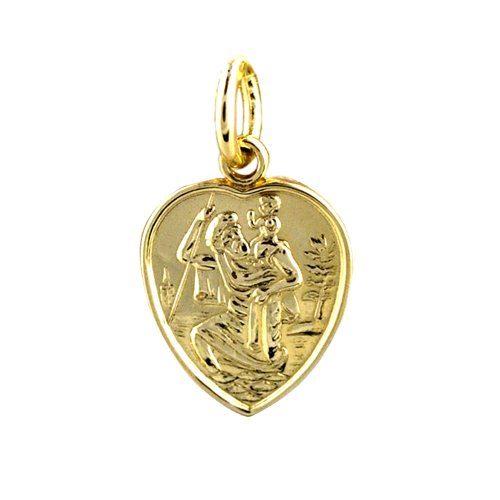 9ct Gold 15x13mm heart St Christopher