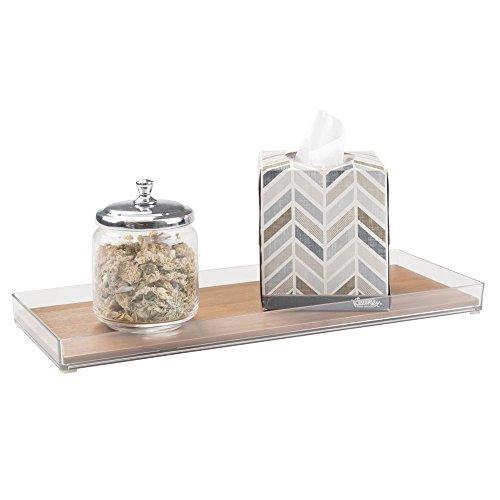 mDesign Vanity, Vassoio Organizzatore Cosmetici per Trucco, Prodotti di Bellezza, Gioielli - Grande, Bambù Naturale