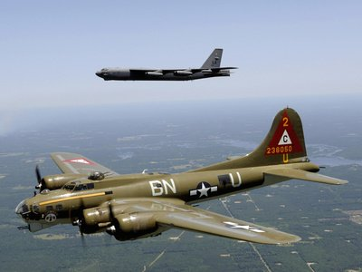 A B-17G Flying Fortress Participates in a Heritage Flight with a B-52H Stratofortress Photographic Poster Print by Stocktrek Images, 18x24