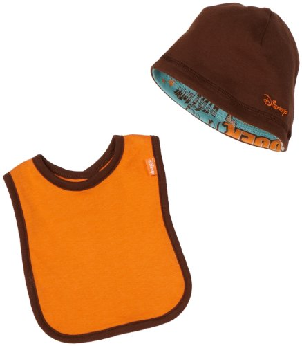 Disney Baby-Boys Newborn Tigger Let's Bounce Reversible Cap and Bib Set, Brown/Orange, One Size