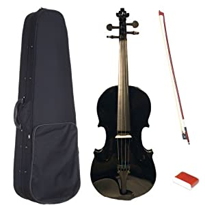 Crescent 4/4 Full Size Student Violin Starter Kit, Black Color (Includes CrescentTM Digital E-Tuner)