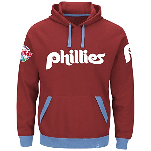 "Philadelphia Phillies Majestic MLB ""Forever"" Cooperstown Hooded SweatShirt Camicia"