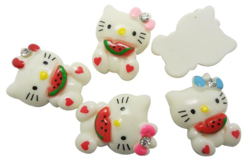 Resin Hello Kitty Melon Flat Backs Scrapbooking Embellishments Supplies Trim Craft Cabochon Appliques Alligator Clips (Hello Kitty Flatback Resins compare prices)