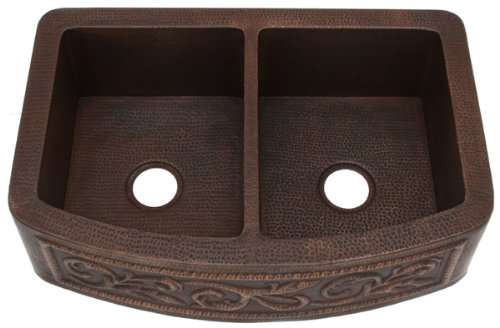 FHA33W2R5050SRL inch Hammermarc Copper Kitchen Sink Farmhouse Apron Rounded Front Double-Scroll