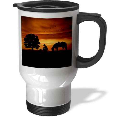 3Drose Tm_173217_1 Cowboy Campfire With Horse On A Hill At Sunset Has A Western Feel Stainless Steel Travel Mug, 14-Ounce