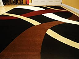 New Modern Black 5\'x8\' Rug Black Wavy 5x8 Carpet Contemporary Rugs 5x7 Black Burgundy Brown and Cream Rug (Medium 5x8)