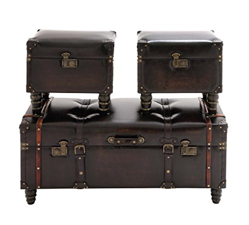 Deco 79 Wood Leather Trunk, 40 by 17 by 17-Inch, Set of 3 0