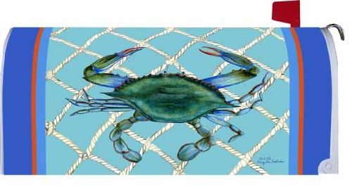 Welcome Nautical Blue Crab Mailbox Wrap Cover
