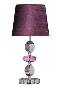 Premier Housewares Isabella - Lámpara de mesa (pantalla de seda sintética, pie de cristal efecto piedras), color cromado