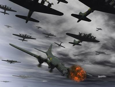 Stocktrek Images A B-17 Flying Fortress Is Set Ablaze by a German Interceptor Fighter Plane Peel and Stick Fabric Wall Sticker by Wallmonkeys Wall Decals