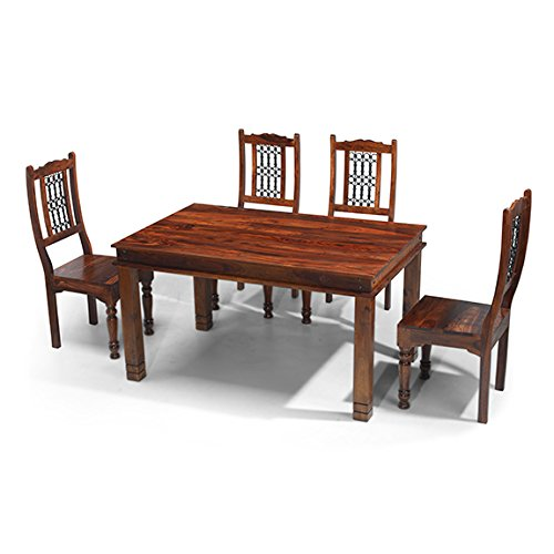 Stunning Maharaja Indian Rosewood Chunky x Dining Table Set High Back Slatted