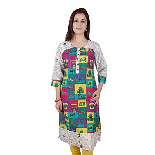 Fashion Aditi Fashion Printed Cotton 3\/4 Sleeeve Kurti For Women (Multicolor)