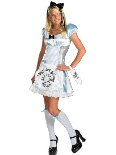 Teen Theatrical Alice Costume Wonderland Dress Stockings and Hair Band