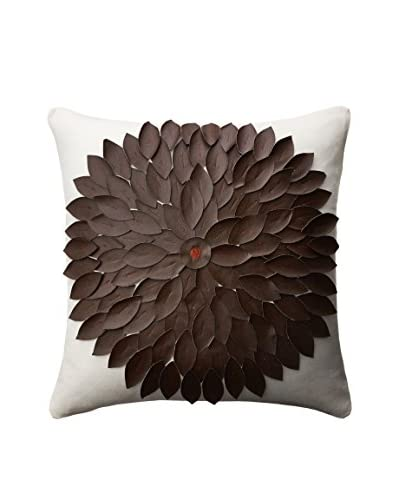 Cloud 9 Leather Appliqué Throw Pillow, Ivory