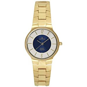 Men's Round Goldtone Sartego Seville Watch Blue Dial