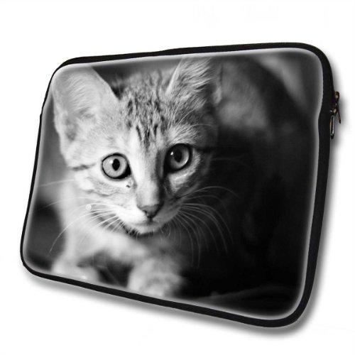 Katzen 10028, Graue Katze, Wasserfest Neopren Weich Zip Gehäuse Computer Sleeve Laptop Tasche Schutzhülle mit Reißverschluss und bunte Design für 14
