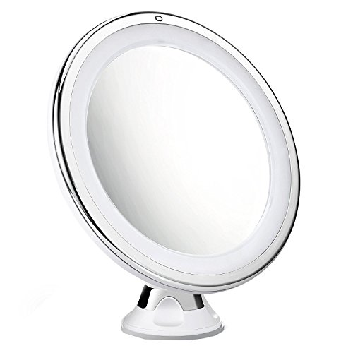 Cymas 7× Magnifying Lighted Makeup Mirror, 15 Min Auto Turn Off, Dimmable Daylight LED Travel Vanity Mirror, Compact, Cordless, 360 Rotation, Strong Locking Suction Bathroom Mirror