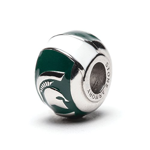 Michigan State 3-D Spartan Bead Charm - Green with White Stripes - Fits Pandora & Others