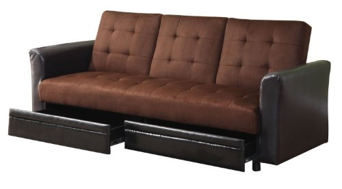 Acme 15290 Kay Adjustable Sofa With Storage Drawers And Cup Holder, Chocolate Microfiber And Espresso Pu front-904652
