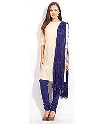 MemSahiba Women Plain Cotton Chudidaar Dupatta Combo (MS-1385_Royal Blue)