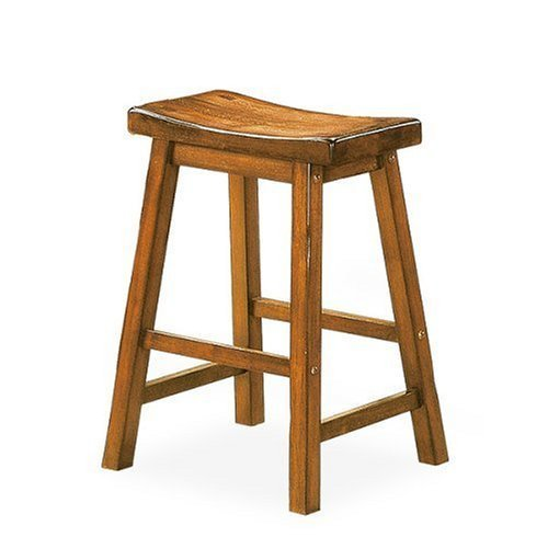"Saddleback 29"" Seat Height Wood Bar Stool In Distressed Oak Finish (Set Of 2) front-982137"