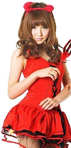 【Zeile's】 ハロウィン 小悪魔 イベント コスプレ 衣装 魔女 ドレス 角付き カチューシャ Tバック オリジナル オーバーニー セット おまけ付き