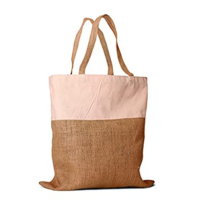 """Pack of 2 - Un laminated Jute Burlap and Cotton Shopping Tote Bag with cotton handles all natural in color size 17.5""""W X 18""""H Eco-friendly Reusable Bag - CarryGreen Bags"""