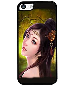 Fuson Cute Girl Back Case Cover for APPLE IPHONE 5C - D3630