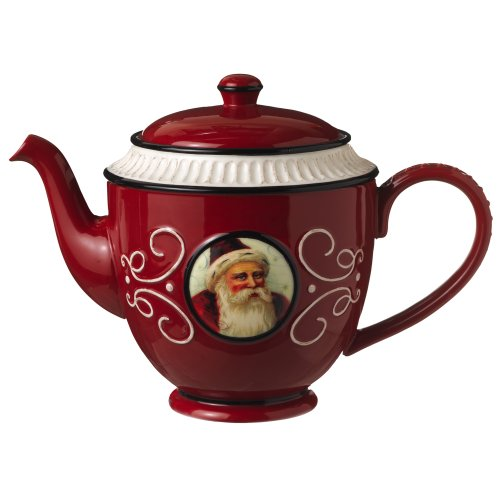 Grasslands Road Old World Santa Ceramic Teapot, 5-Inch, Red