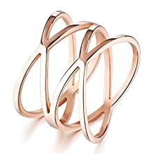"buy Opk Jewelry Personality Rose Gold ""X"" Criss Cross Long 14Mm Woman Party Rings Band,Size 5-8"