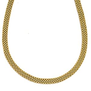 18k Yellow Gold 8mm Fancy Mesh Necklace - 18 Inch - JewelryWeb