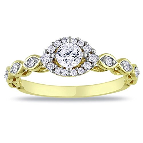 0.58 Carat Halo Affordable Diamond Engagement Ring with Round cut Diamond on 14K Yellow gold