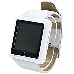 ANDROSET Premium Bluetooth Smart Watch for Smartphones - White Leather
