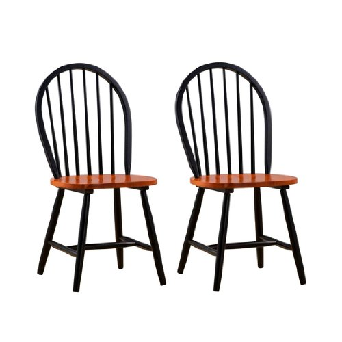 Boraam Farmhouse Wood Chair in Black- Set of 2