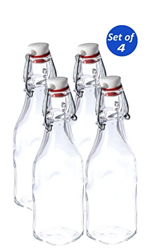 Bormioli Rocco Swing Top Glass Bottle, 8.5 Ounce (Set of 4)
